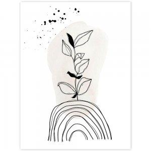 Čiernobiely kvet - obraz na stenu