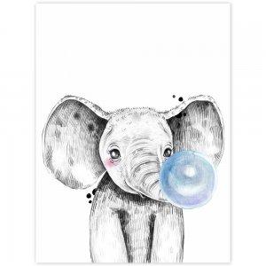 Obraz na stenu - Slon s modrou bublinou