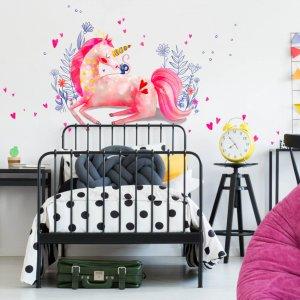 Akvarelové nálepky na stenu - Ružový jednorožec