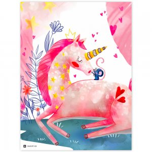 Obraz do detskej izby - Ružový jednorožec s hviezdičkami