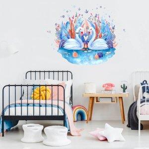 Akvarelové nálepky na stenu - Labute