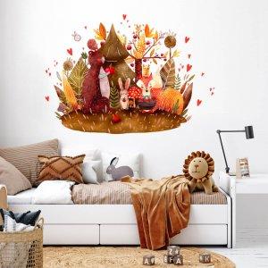 Detská nálepka na stenu - Lesné zvieratká s jabĺčkami