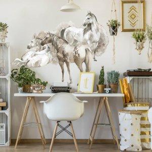 Nálepka na stenu pre teenagerov - Kone v zemitých farbách