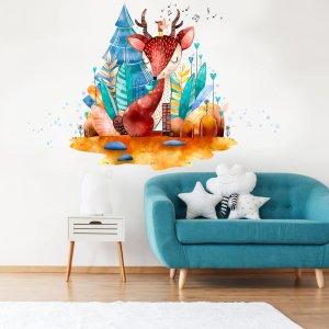 Nálepka na stenu - Modrý jelenček v rozprávkovom lese